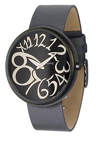 Moog Paris Ronde Art-Deco Women's Watch with Black Dial, Interchangable Dark Gray Strap in Fabric - M41671-001 ()