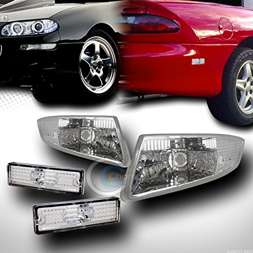 Autobotusa Chrome Front Signal Bumper Lights W/Rear Side Marker Lamps K2 93-02 for Chevy Camaro