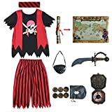 Kids Pirate Costume,Pirate Role Play Dress Up Completed Set 8pcs for Boys Size