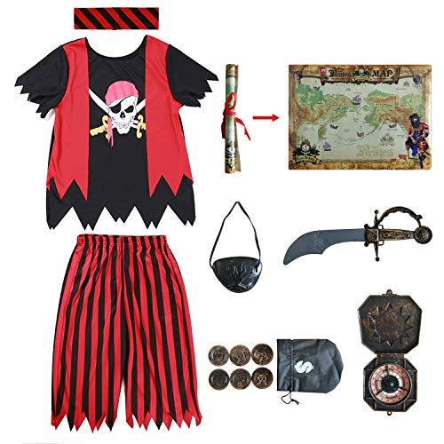 Kids Pirate Costume,Pirate Role Play Dress Up Completed Set 8pcs for Boys Size 3-4,5-6,7-8 (5-6Years) Red/Black -