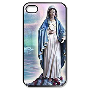 Custom Case- Virgin Mary Christian and Child Baby Jesus Hard Plastic Back Case for iPhone 4 iPhone 4s (Black 020315)
