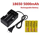 Fast Lithium Battery Charger, 18650 5000mAh 3.7V Protected Rechargeable Lithium for Applicable for High-Power LED Flashlight, Headlamp ,Li-ion Rechargeable Batteries (Charger + 4 Pack 18650)