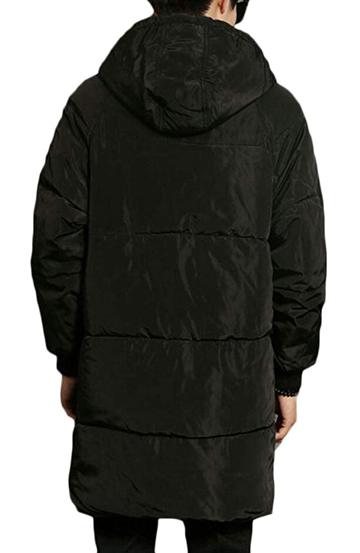 WSPLYSPJY Mens Mid Long Warm Quilted Plus Size Winter Hooded Down Jacket Coat