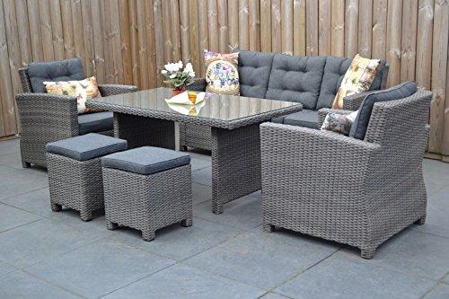 Hochwertige Tischgruppe in Grau Polyrattan Garten Möbel Poly ...