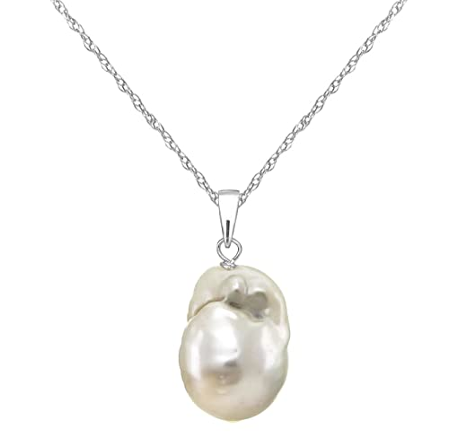 14k Gold 12-12.5mm White Nucleated Freshwater Cultured Pearl Pendant Necklace 18 inches