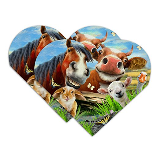 (Funny Farm Selfie Cow Horse Rabbit Sheep Heart Faux Leather Bookmark - Set of 2)