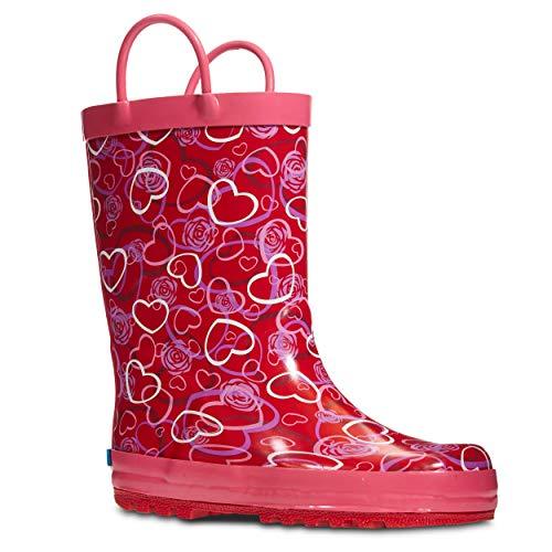 Fuchsia Rubber Wellies - ZOOGS Children's Rubber Rain Boots, Little Kids & Toddler, Boys & Girls Patterns, Fuchsia (Hearts)