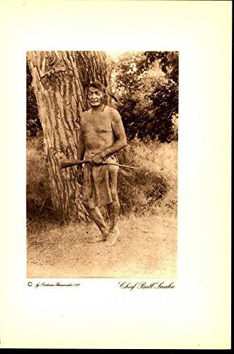 Chief Bull Snake Miniature Rifle 1913 vintage Native American photogravure print ()