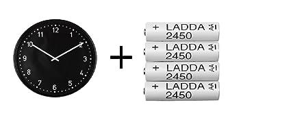 IKEA reloj de pared, negro, batería recargable