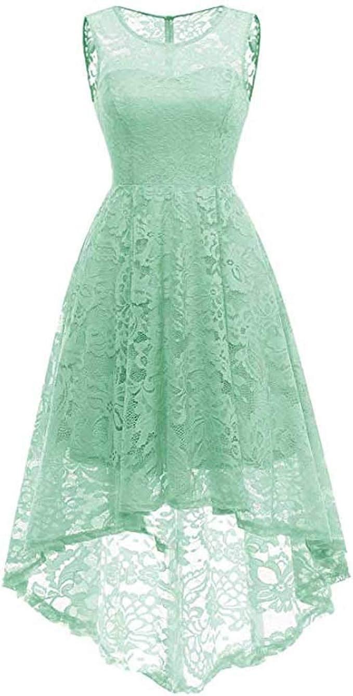 MAYOGO Vintage Elegant Kleid aus Spitze Damen Unregelmässig Vokuhila Kleid  Vorne Kurz Hinten Lang,Kleid zur Hochzeit Gast/Brautjungfer,Langarm