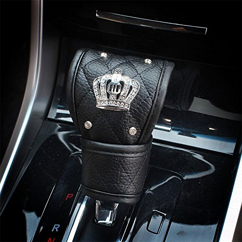 Ladies Car Steering Wheel Cover with Diamond Lattice Girly Classy Fashion Collection Car Steering Wheel Cover with Crown and Diamonds (Queen ONLY) (Cover for Gear Lever)