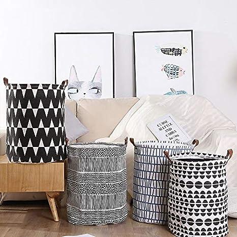 Canvas Fabric Waterproof Folding Laundry Basket with Handles Toy Storage Basket Organizer Bin Haihuic Large Laundry Hamper Bucket