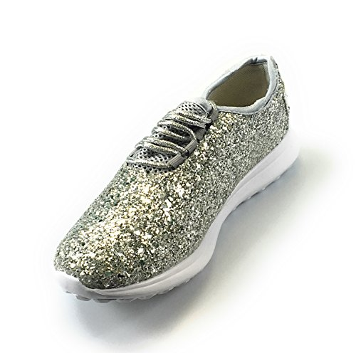 Pierre Dumas Forse-3 Sneakers Glitterate Top Sneakers Stringate Leggere (6, Argento)