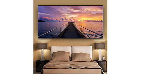 Nature Dusk Pier Landscape Poster and Print Canvas Painting ...
