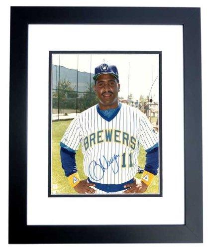Greg Vaughn Signed - Autographed Milwaukee Brewers 8x10 inch Photo BLACK CUSTOM FRAME