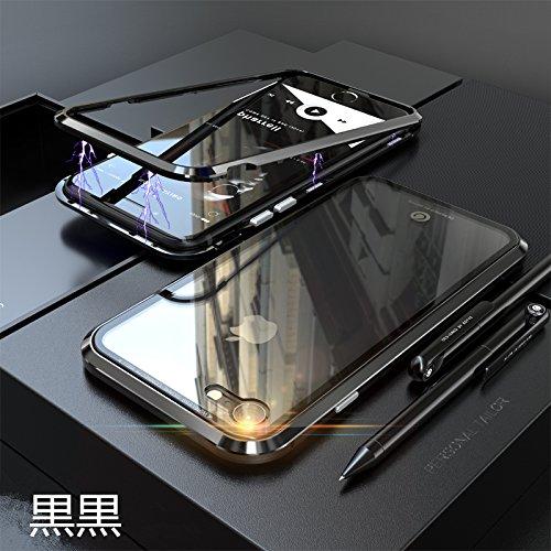 MQman iPhone7 iPhone8 iPhone7plus iPhone8plus ケース 2色アルミバンパー 磁石止め 新作 ガラスバックプレート 透明背面 人気オシャレ かっこいいアイフォンカバー (iphone7/8, 黒黒)
