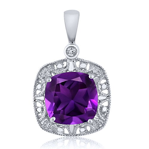 Gem Stone King 10K White Gold Purple Amethyst and Diamond Accent Women's Pendant Necklace (2.05 cttw, 8MM Cushion)
