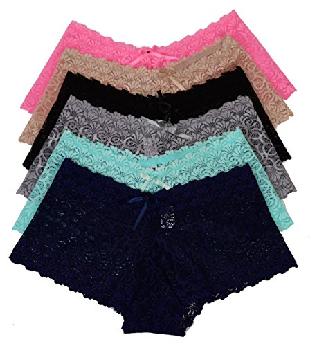 Viola's Secret Lace Boyshort Underwear Pack Of 12 Women Panty (L, (Secret Boyshorts)