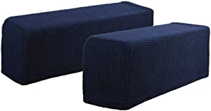 Hanhao Armrest Cover Ultra Soft Spandex Stretch Arm Cover for Recliners Sofas Chairs Loveseats Elastic Anti Slip Furniture Armrest Protector for Leather and Fabric Couch Set of 2 (Navy)