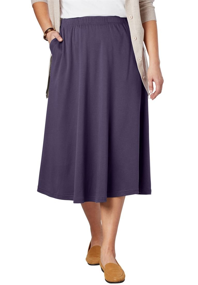 Women's Plus Size Petite 7-Day Knit A-Line Skirt