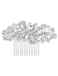 Ever Faith Bridal Flower Cream Simulated Pearl Clear Austrian Crystal Hair Comb