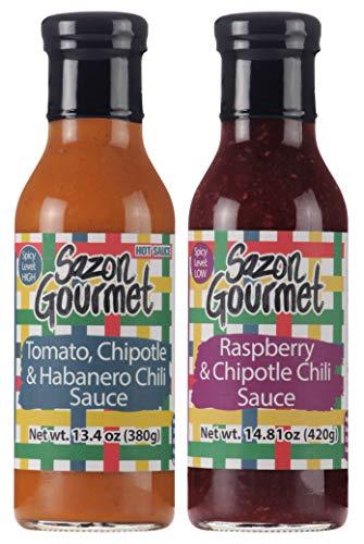 (SAZON GOURMET 2 PACK OF CHIPOTLE/HABANERO SAUCE AND RASPBERRY SAUCE (14.81 oz.))