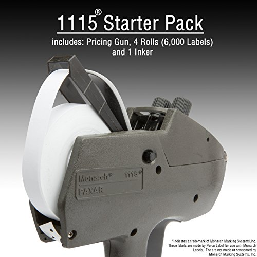 Monarch 1115 Price Gun with Labels Starter Kit: Includes Price Gun, 6,000 White Pricing Labels, Inker and Label Scrapper by Perco (Image #1)