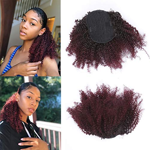 - Human Hair Ponytail Extension Drawstring Afro Ponytail For Natural Hair Ombre Color Hair Pieces For Women Clip In Ponytail Virgin Remy Human Hair Extensions Afro Kinky Clip In Ponytail #1B/ 99j 10Inch