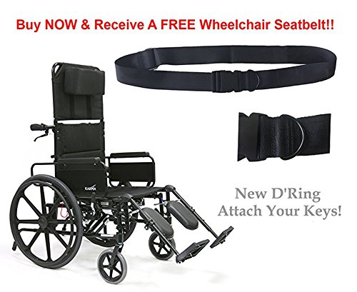 New Karman KM-5000 (KM5000F16B-MS) Lightweight Reclining Wheelchair with Removable Desk Armrest, Fixed Wheel, 16