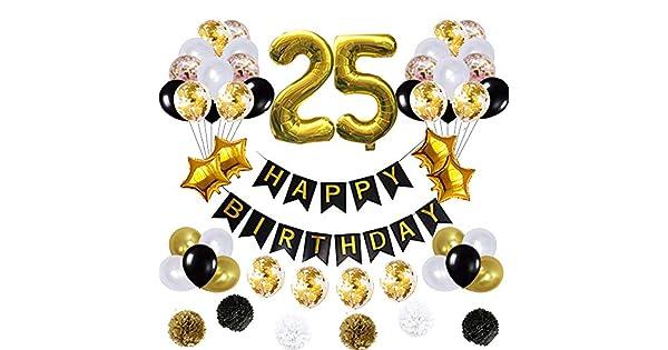 Amazon.com: 25 globos de decoración de cumpleaños, póster de ...