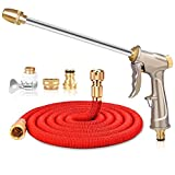 Retractable hoses Car wash water gun Copper nozzle Natural latex 3 times the expansion and contraction Long rod Non-slip gun body Adjustable water flower car watering Aluminum alloy , red