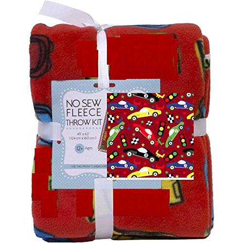 Cars No-Sew Throw Anti-Pill Fleece Fabric Kit by David Textiles