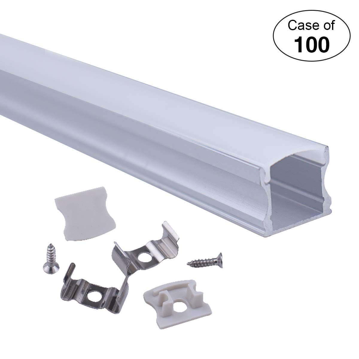 Case of 100, Muzata 3.3ft/1Meter 17x16mm LED Aluminum Channel System with Cover, End Caps and Mounting Clips Aluminum Profile for LED Strip Light, Led Lights Diffuser U101 by Muzata