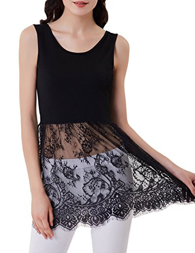Dress Slip Women's Kasin Black Spaghetti 909 Top Kate Extender Camisole Tank Lace 5fXwqYdq
