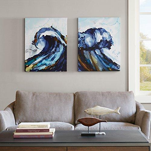 Madison Park Liquid Waves Abstract Hand Embellished Blue Canvas Wall Art 22X28 2 Piece Multi Panel, Coastal Wall ()