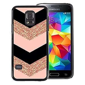A-type Arte & diseño plástico duro Fundas Cover Cubre Hard Case Cover para Samsung Galaxy S5 Mini (Not S5), SM-G800 (Chevron Dress Fashion Glitter Gold Pattern)