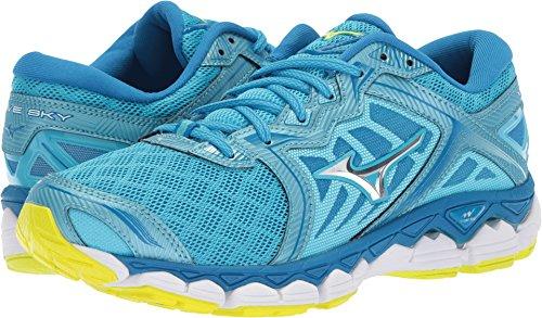 Mizuno Running Women's Wave Sky Running Shoe, Aquarius-Silver, 8.5 B (Womens Prophecy Sport Shoe)