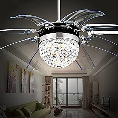 RS Lighting Modern Fashion 42-Inch Blade Ceiling Fan With Led Lights Transparent 8-Leaf Folding Chrome Fan Crystal Chandelier for Living Room Bedroom Ceiling Lamp Fixture