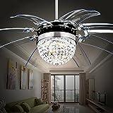 RS Lighting Modern Fashion 42-Inch Blades Ceiling Fan With Led Lights Transparent 8-Leaf Folding Chrome Fan Crystal Chandelier for Living Room Bedroom Ceiling Lamp Fixture