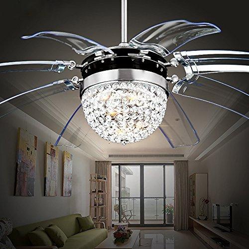 8 Light Contemporary Chandelier (RS Lighting Modern Fashion 42-Inch Blades Ceiling Fan With Led Lights Transparent 8-Leaf Folding Chrome Fan Crystal Chandelier for Living Room Bedroom Ceiling Lamp Fixture)
