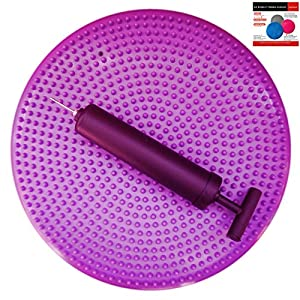 AppleRound Air Stability Wobble Cushion, Purple, 35cm/14in Diameter, Balance Disc, Pump Included