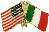 Crossed American  and  Italian Flags Enamel Pin