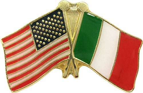 Crossed American & Italian Flags Enamel Pin