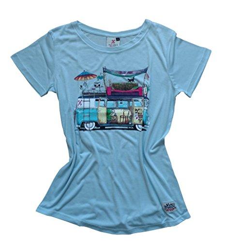 Holmes Bros Damen T-Shirt Blau Cool Blue