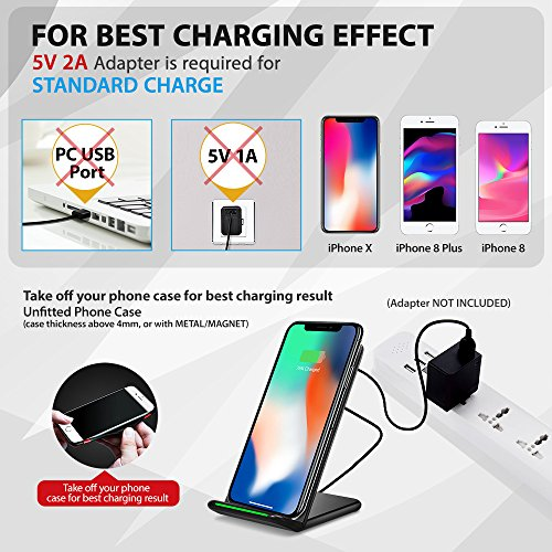 iPhone X Wireless Charger, ELLESYE 3-Coil Qi Wireless Charger Stand for iPhone X, iPhone 8/8 Plus, Galaxy Note 9/S9/S9 Plus/Note8/S8/S8 Plus/S7/S7 Edge/S6 Edge Plus, LG G6 and All QI-Enabled Devices by ELLESYE (Image #6)