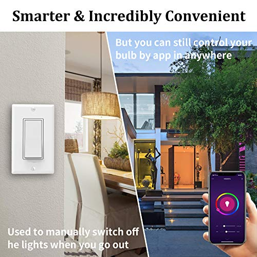 Smart Light Bulb with PowerOn Technology, AvatarControls RGBCW Dimmable Color Changing WiFi LED Light Bulbs Work with Alexa/Google Home Assistant/APP, (3000K~6200K, 910LM E26 A19 70W Equivalent)