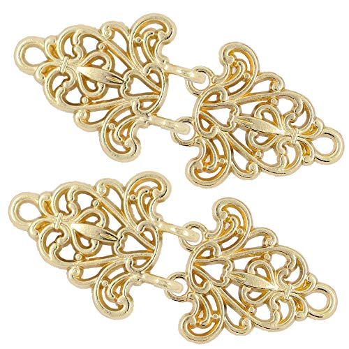 Bezelry 4 Pairs Filigree Trivet Cape or Cloak Clasp Fasteners. 64mm x 29mm Fastened. Sew On Hooks and Eyes Cardigan Clip (Gold)