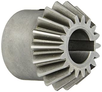 """Boston Gear HL152Y-P Bevel Pinion Gear, 2:1 Ratio, 0.625"""" Bore, 12 Pitch, 18 Teeth, 20 Degree Pressure Angle, Straight Bevel, Keyway, Steel with Case-Hardened Teeth"""