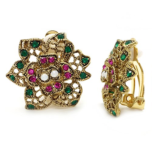 Clip On Earrings Flower Antique Pink Green Crystal Filigree Multi Color