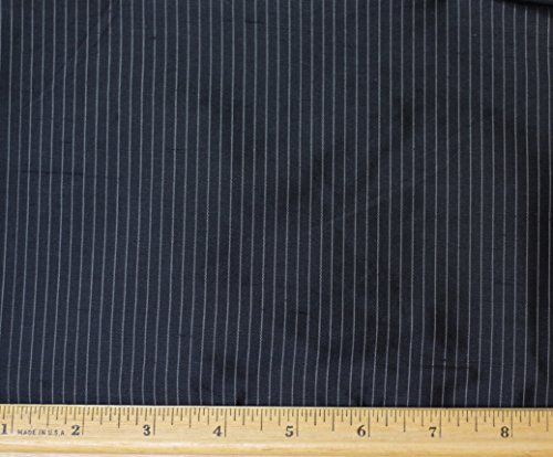(Black Pinstripe Dupioni Stripes, 100% Silk Fabric, 1.33 Yard Piece, 54